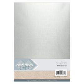 Card Deco Essentials - Metallic Linnenkarton - Metallic Silver CDEML001