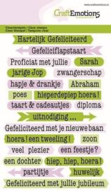 CraftEmotions clearstamps A6 - tekst typewriter gefeliciteerd (NL) 1318