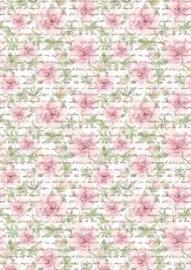 Hobbyidee A4 Basisvel Vintage tekst met bloemen
