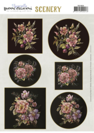 Scenery - Yvonne Creations - Aquarella - Antique Flowers  CDS10034