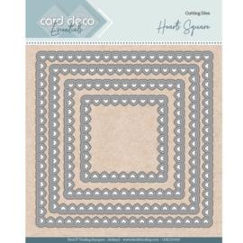Card Deco Essentials - Nesting Dies - Bullet Hearts Square  CDECD0100   Formaat ca. 12,5 x 12,4 cm