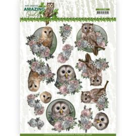 3D Cutting Sheet - Amy Design - Amazing Owls - Romantic Owls  CD11566