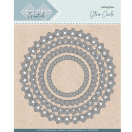 Card Deco Essentials - Nesting Dies - Stars Circle  CDECD0098   Formaat ca. 12,4 x 12,4 cm
