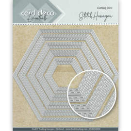 Card Deco Essentials Cutting Dies Stitch Hexagon  CDECD0030 ca. 13 x 11,3 cm (5-delig)