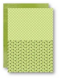 NEVA026 Doublesided background sheets A4 green hearts