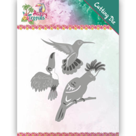 Dies - Yvonne Creations - Happy Tropics - Exotic Birds  YCD10175  Formaat ca. 8,7 x 9,7 cm