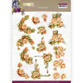3D cutting sheet - Precious Marieke - Romantic Roses - Orange Rose  CD11612