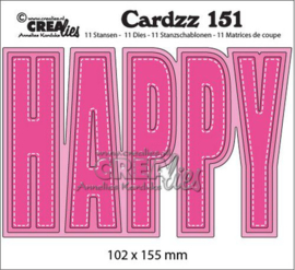 Crealies Cardzz no 151 HAPPY (ENG) CLCZ151 102x155mm