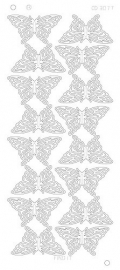 CD3077 Butterflies Large Platinum zilver
