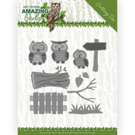 Dies - Amy Design - Amazing Owls - Owl Family  ADD10217  Formaat ca. 10,5 x 10,5 cm