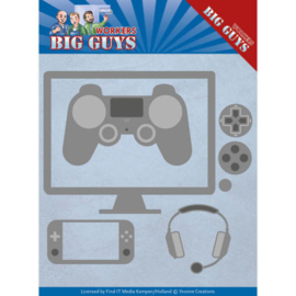 Dies - Yvonne Creations - Big Guys - It's Game Time  YCD10205  Formaat ca. 13 x 11,2 cm