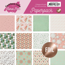 Foiled Paperpack 30,5 x 30,5 - Yvonne Creations - Floral Pink CDCPP10002 (30.5x30.5cm)