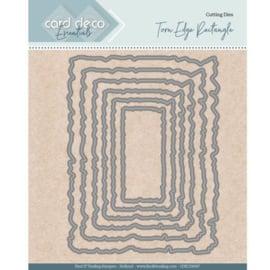 Card Deco Essentials - Nesting Dies - Torn Edge Rectangle CDECD0097   Formaat ca. 10 x 13 cm