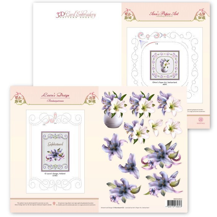 3D Card Embroidery Pattern Sheet #22 with Ann & Laura   3DCE13022