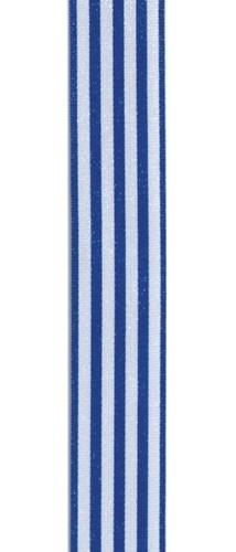 Lint gestreept donkerblauw en wit 9MM / per meter