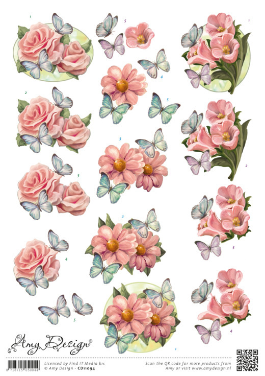 3D Knipvel - Amy Design - Pink Flowers CD11094