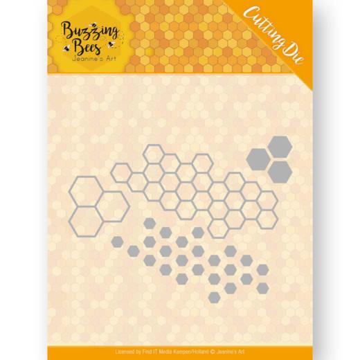 Dies - Jeanines Art - Buzzing Bees - Hexagon Set  JAD10074  Formaat ca. 9,3 x 11,8 cm