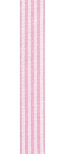 Lint gestreept roze/wit 9MM / per meter