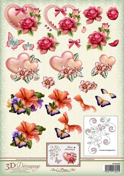 3D Decoupage Sheet Love & romance