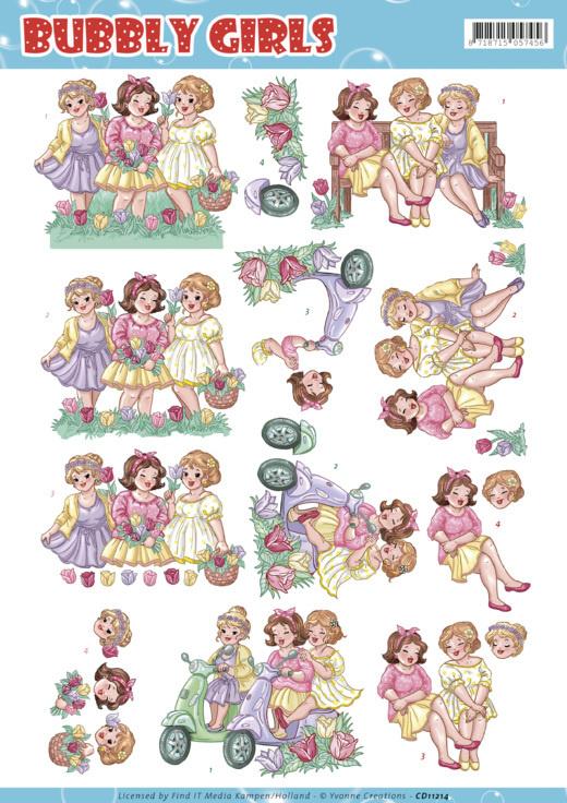 3D Knipvel Yvonne Creations - Bubbly Girls - Spring  CD11214