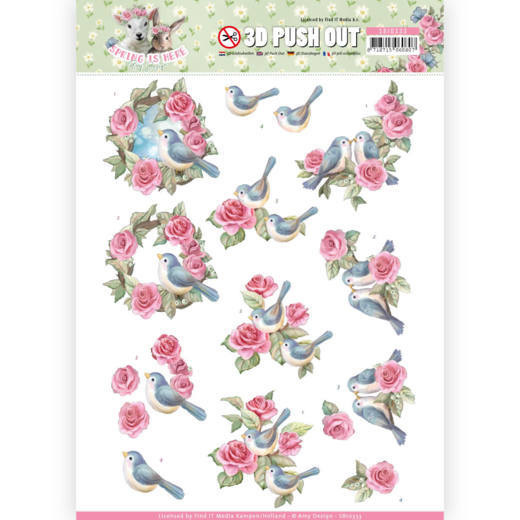 3D Pushout - Amy Design - Spring is Here - Birds and Roses   SB10333
