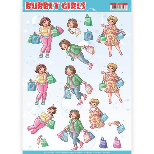 3D Knipvel - Yvonne Creations- Bubbly Girls - Shopping   CD11307