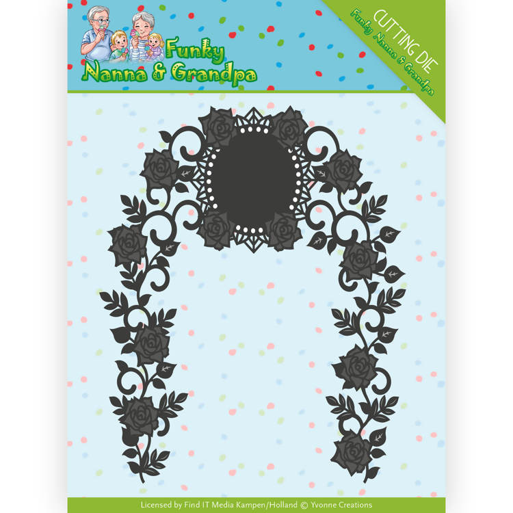 Dies - Yvonne Creations - Funky Nanna's - Floral Arch  YCD10158  Formaat ca. 10 x 12,5 cm.