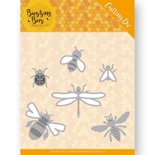 Dies - Jeanines Art - Buzzing Bees - Set of Bugs  JAD10076  Formaat ca. 5,5 x 5,2 cm