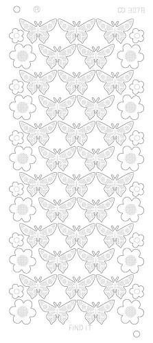 CD3078 Flowers Butterflies Platinum goud