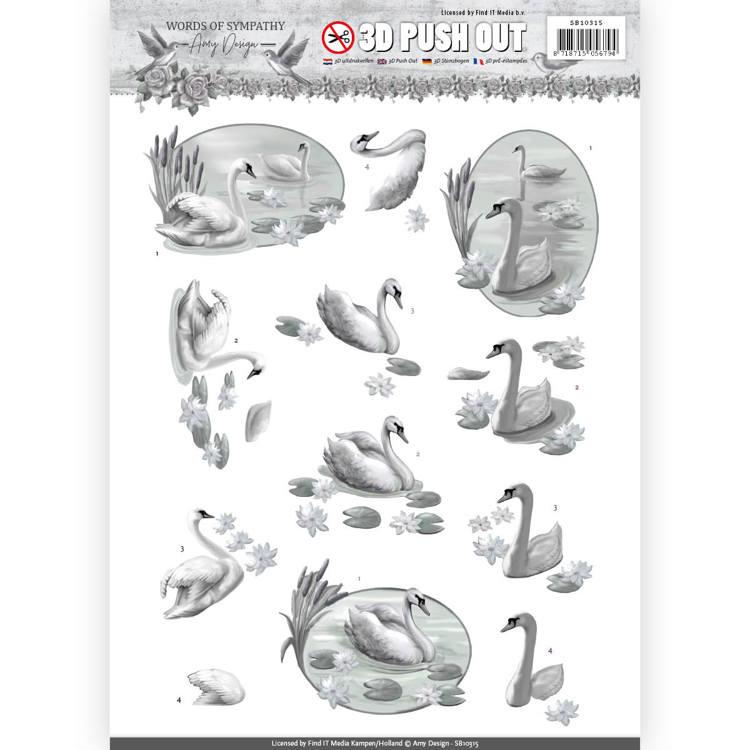 3D Pushout - Amy Design - Words of Sympathy - Sympathy Swans   SB10315