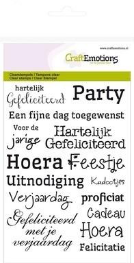 CraftEmotions clearstamps A6 -tekst NL gefeliciteerd