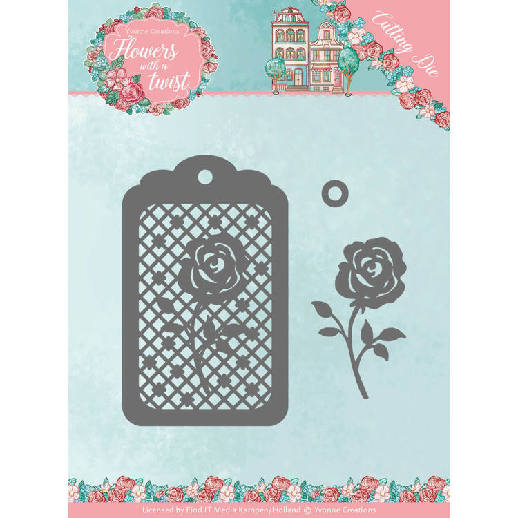Dies - Yvonne Creations - Flowers with a Twist- Rose Label  YCD10166  Formaat ca. 8 x 8 cm