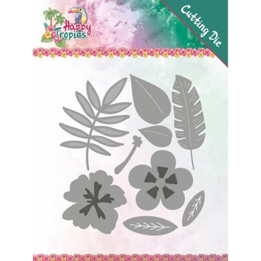 Dies - Yvonne Creations - Happy Tropics - Tropical Blooms YCD10174  Formaat ca. 8,8 x 9,7 cm