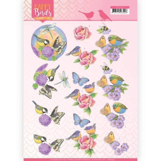 3D Knipvel - Jeanine's Art - Happy Birds - Geurende bloemen   CD11323