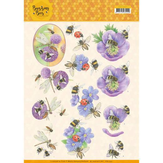 3D knipvel - Jeanines Art - Buzzing Bees - Purple Flowers   CD11337