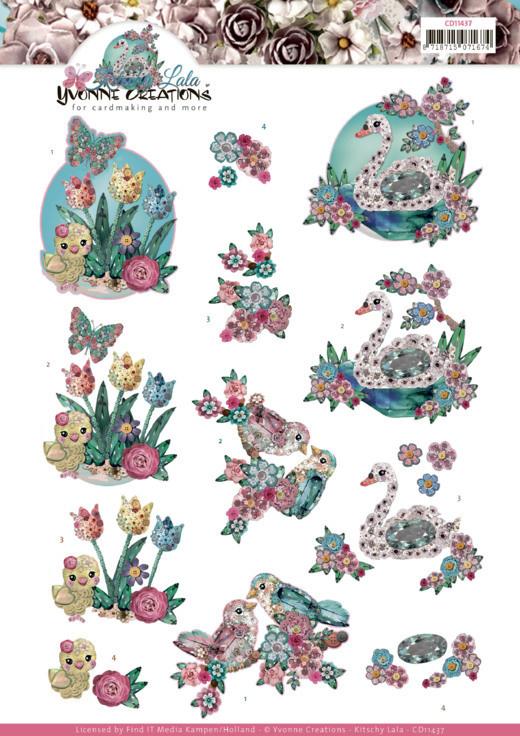 3D cutting sheet - Yvonne Creations - Kitschy Lala - Kitschy Birds  CD11437