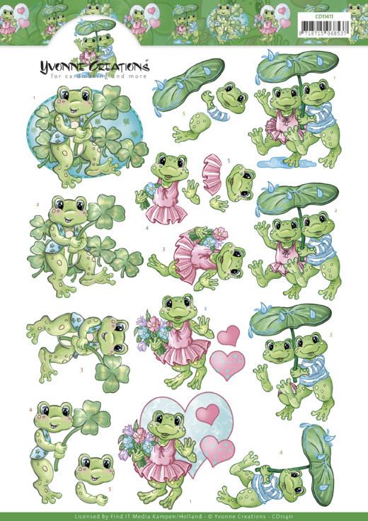 3D Knipvel - Yvonne Creations - Frog Greetings    CD11411