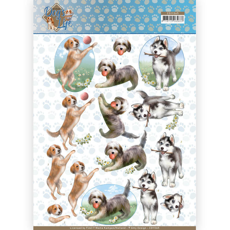 3D Knipvel - Amy Design - Dogs Life - Playing Dogs   CD11365
