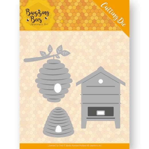 Dies - Jeanines Art - Buzzing Bees - Beehives  JAD10075  Formaat ca. 7,4 x 6,9 cm
