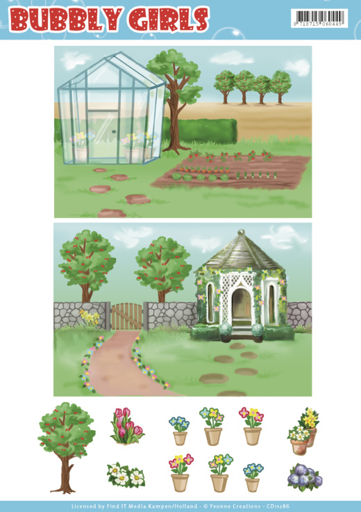 Background Sheets - Yvonne Creations - Bubbly Girls - Gardening  CD11286