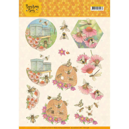 3D knipvel - Jeanines Art - Buzzing Bees - Working Bees   CD11338