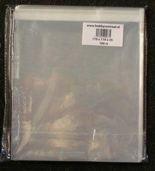 Vierkante Kaartenzakjes met plakstrip 100st 180x180x25