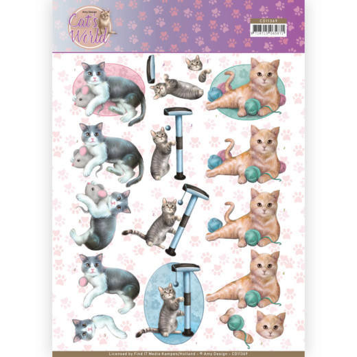 3D Knipvel - Amy Design - Cats World - Playing Cats   CD11369