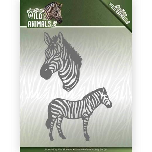Dies - Amy Design - Wild Animals 2 - Zebra  ADD10178  Formaat ca. 7,6 x 11,0 cm.