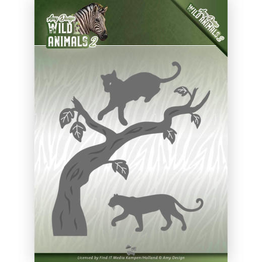Dies - Amy Design - Wild Animals 2 - Panther  ADD10175  Formaat ca. 10,5 x 11,5 cm.