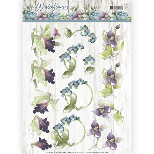 3D knipvel - Precious Marieke - Winter Flowers - Orchids   CD11188
