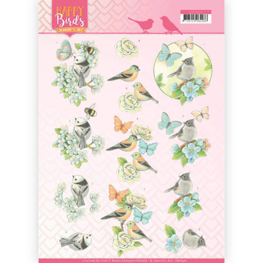 3D Knipvel - Jeanine's Art - Happy Birds - Blauwe dans   CD11321