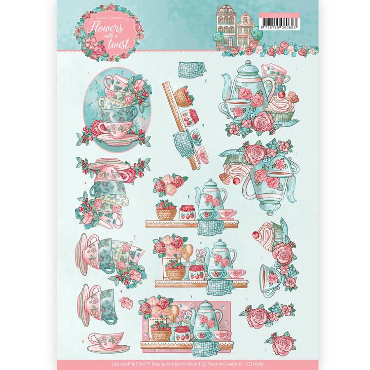 3D knipvel - Yvonne Creations - Flowers with a Twist - Tea Time  CD11289