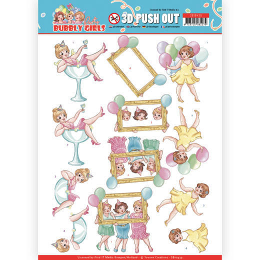 3D Pushout - Yvonne Creations - Bubbly Girls - Party - Let's have fun  SB10439