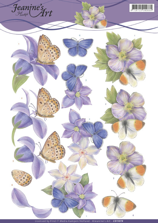 3D Knipvel - Jeanine's Art - Purple Flowers  CD11079